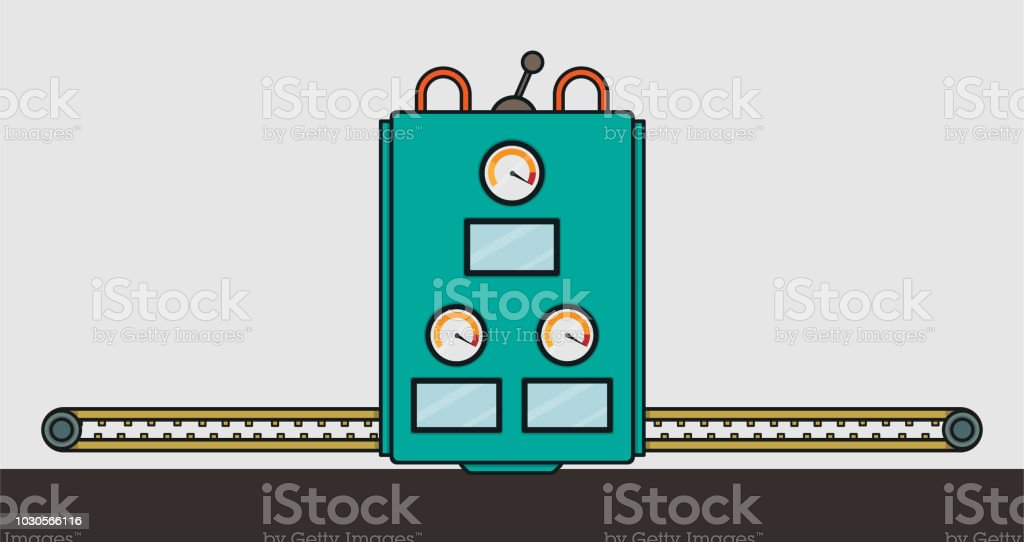 A Flat Vector Illustration Of Factory Machine vector art illustration