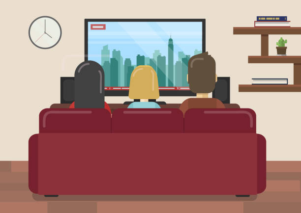 flat vector illustration of family sitting on couch watching news in living room - living room stock illustrations, clip art, cartoons, & icons