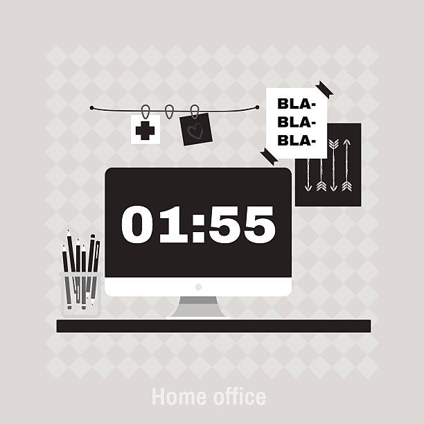 Flat vector illustration of hipster home office workplace. vector art illustration