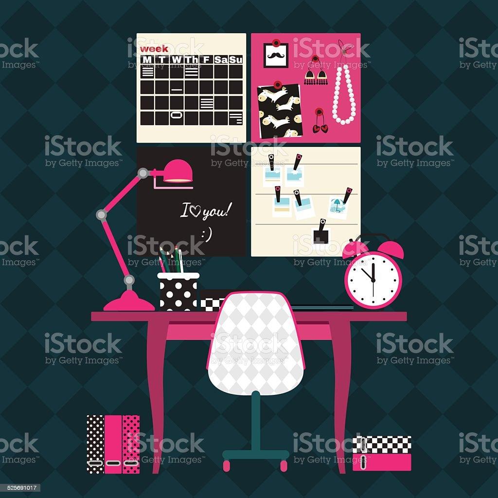 Flat vector illustration of home office workplace. vector art illustration
