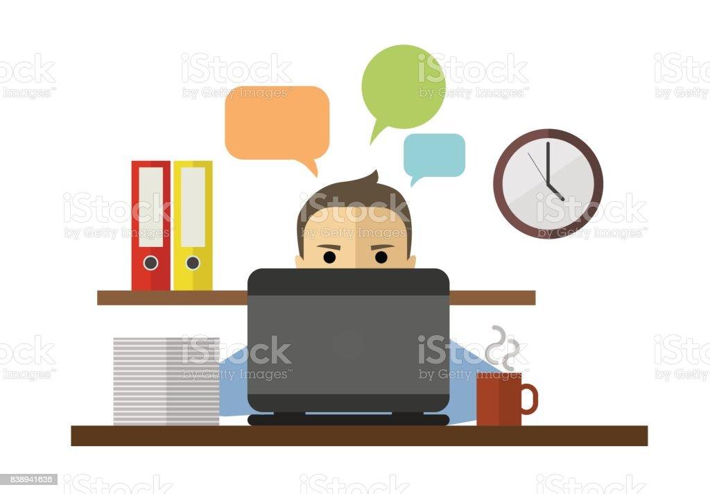 Onun Bilgisayar Ve çalışma Behing Oturan Adam Düz Vektör çizim Stok