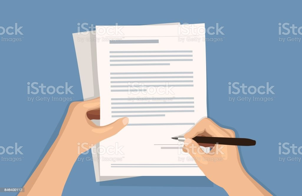 Flat vector illustration of man writing signature on contract document on blue background royalty-free flat vector illustration of man writing signature on contract document on blue background stock illustration - download image now