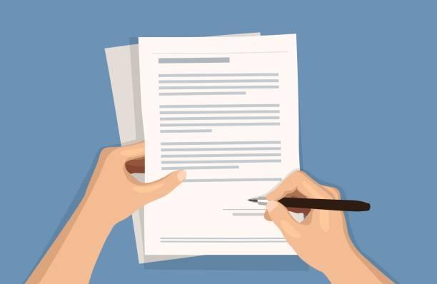 flat vector illustration of man writing signature on contract document on blue background - kontrakt stock illustrations