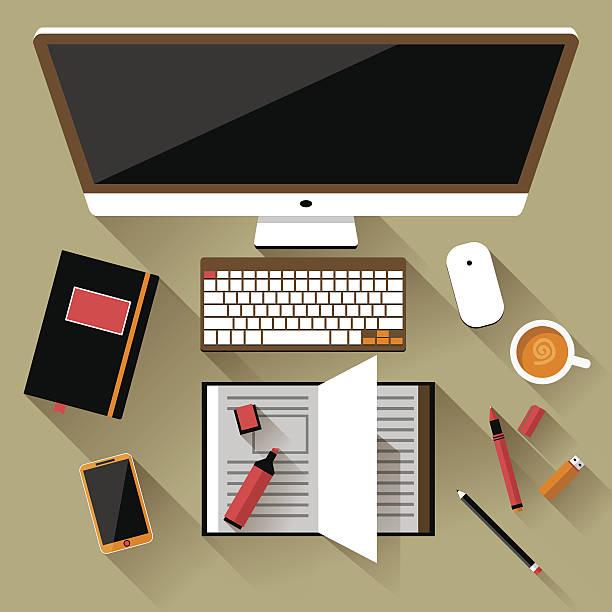 flache vektor-illustration von büro-arbeitsbereich - filzarbeiten stock-grafiken, -clipart, -cartoons und -symbole