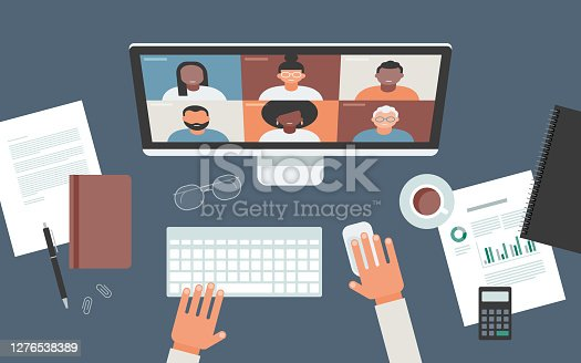 istock Flat vector illustration of person at desk using computer for video call 1276538389