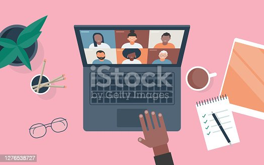 istock Flat vector illustration of person at desk using computer for video call 1276538727