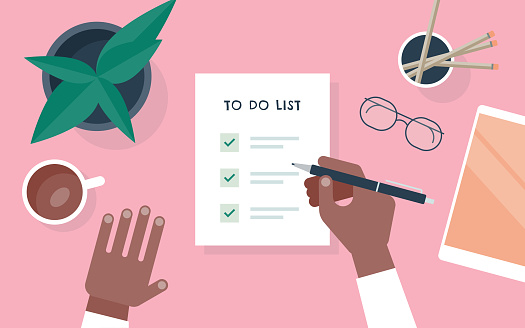 Flat vector illustration of person checking to do list at desk