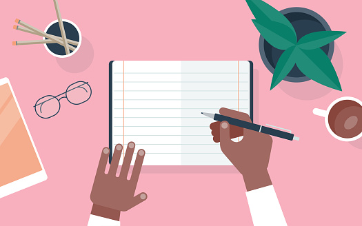 Flat vector illustration of person writing in notebook at desk
