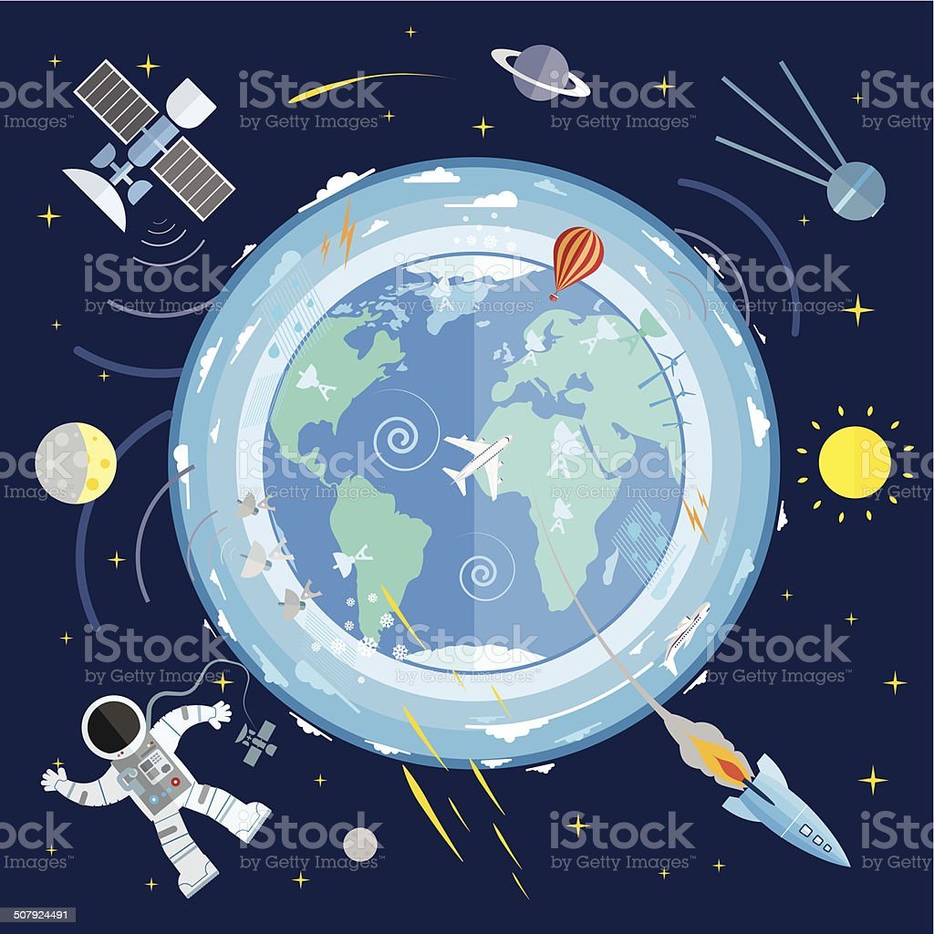 Flat vector illustration of planet Earth and space icons. vector art illustration