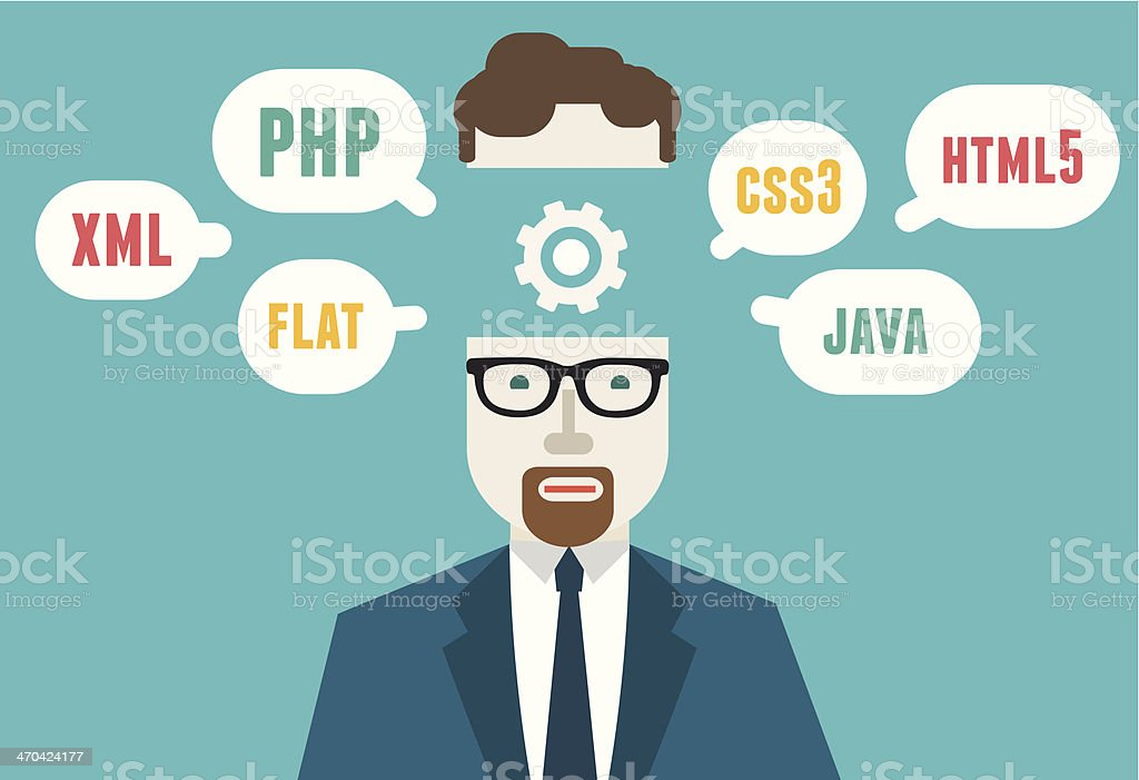 Flat vector illustration of programmer and process coding and programming vector art illustration
