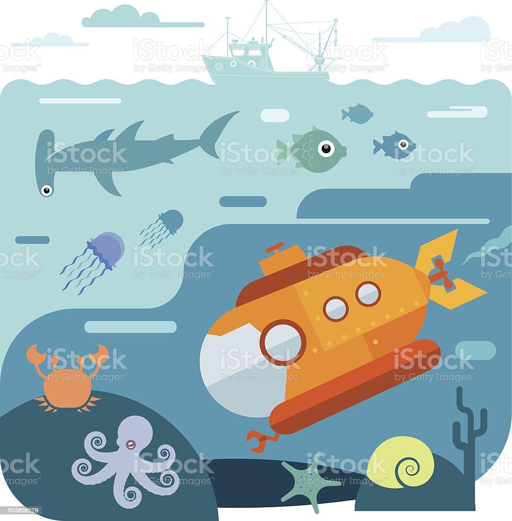 Flat vector illustration of underwater sea life vector art illustration