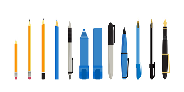 Flat vector illustration of various pens, pencils, markers and highlighters. Isolated on white background