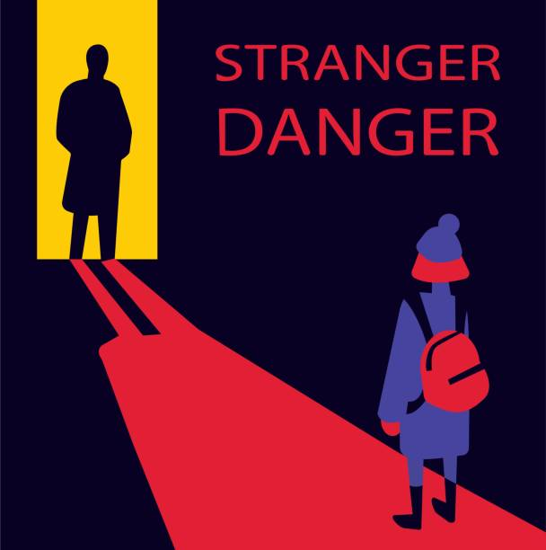 Flat vector illustration of young child meeting male stranger in dark street. Social problem of stranger danger. Children protection and safety. Kids kidnapping and child abuse by unknown people young child meets a stranger police meeting stock illustrations