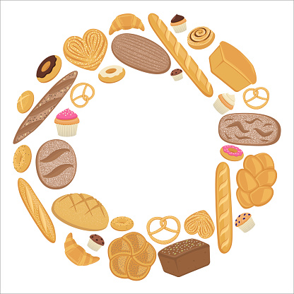 Flat vector illustration, realistic various types of bread, buns, bagels, donut, muffin. Graphics for bakery banner, site, landing page. Large pastry collection. Bread in circle.