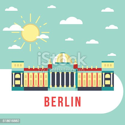 Flat vector retro illustration Reichstag in Berlin, Germany. Monument famous building, sun and sky. City landskape