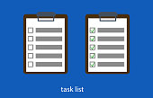 Flat vector illustration Tablet with a list of tasks completed