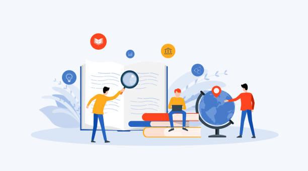 Flach-Vector Illustration Technologie Business-Forschung, Lernen und Online-Ausbildung Konzept mit Menschen Business-Team Arbeitskonzept – Vektorgrafik