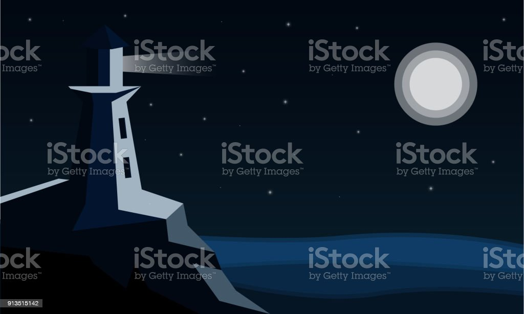 Flat vector illustration the lighthouse shines at night vector art illustration