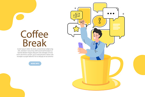 flat vector illustration. Tiny man relaxing, talking and drinking coffee. dialog speech bubbles with icons and cup of coffee.