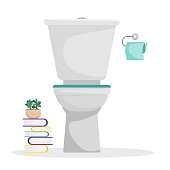 Flat vector illustration. Toilet with a roll of toilet paper on the wall. Stack of books. An isolated figure.