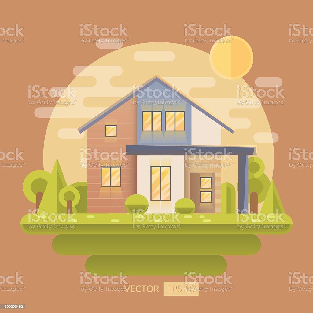 Flat vector illustration with house royaltyfri flat vector illustration with house-vektorgrafik och fler bilder på arkitektur