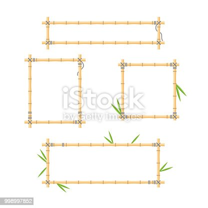 Flat vector illustration with brown wood stick frame background collection. Handmade tropical bamboo branch with leaves and ropes for holiday posters, asian forest villages and jungle signboards.