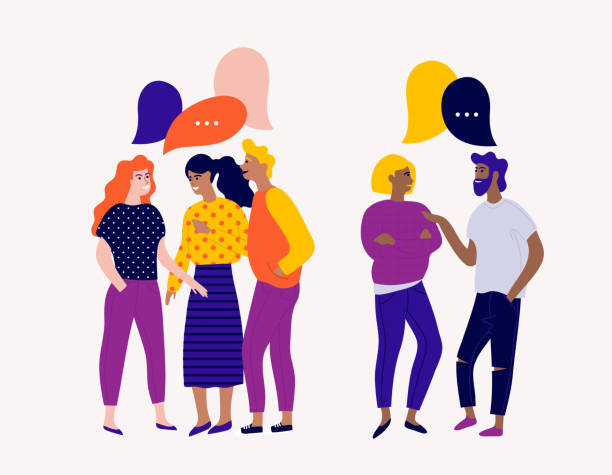 illustrazioni stock, clip art, cartoni animati e icone di tendenza di flat vector illustration with young people characters with colorful dialog speech bubbles. discussing, chatting, conversation, dialogue. - friends