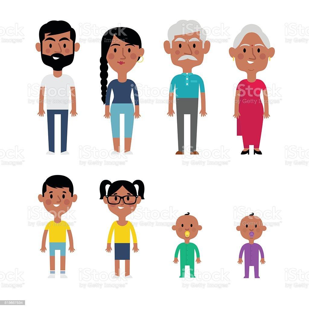 Flat vector indian family vector art illustration