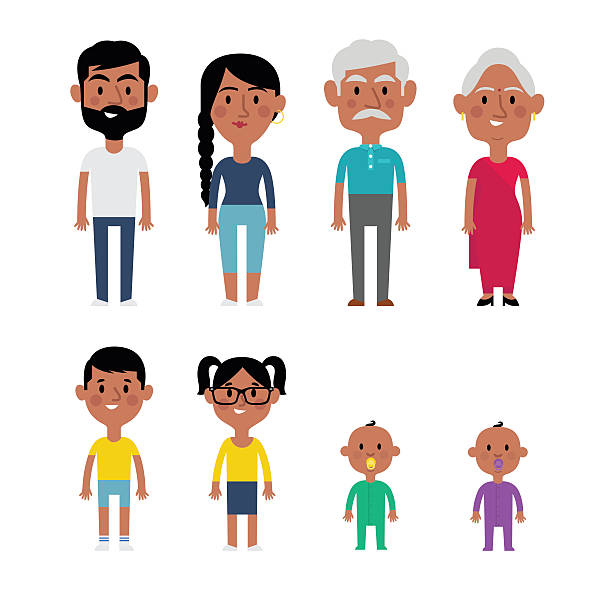 Flat vector indian family Flat vector indian family members. Parents, Grandparents, children and baby. indian family stock illustrations