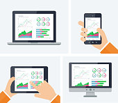 Statistics. Flat vector infographic with graphs and charts elements on devices screens. Finance statistics report, business statistics, mobile app ui kit, modern tehnology. Analytics process concept