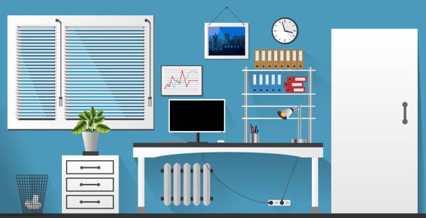 flat vector interior office room in blue and white style. vector illustration - stiftehalter stock-grafiken, -clipart, -cartoons und -symbole