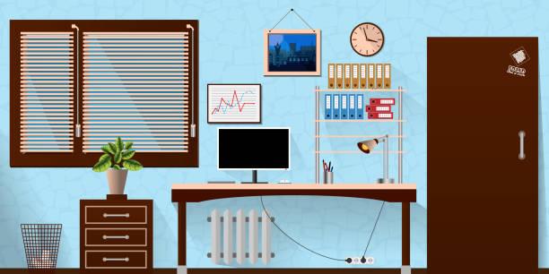 flat vector interior office room in blue wooden style. vector illustration - stiftehalter stock-grafiken, -clipart, -cartoons und -symbole