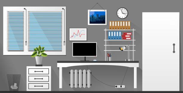 flache vektor innen bürozimmer im grauen und weißen stil. vektor-illustration - stiftehalter stock-grafiken, -clipart, -cartoons und -symbole