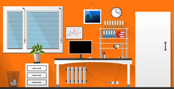 flat vector interior office room in orange and white style. vector illustration - stiftehalter stock-grafiken, -clipart, -cartoons und -symbole