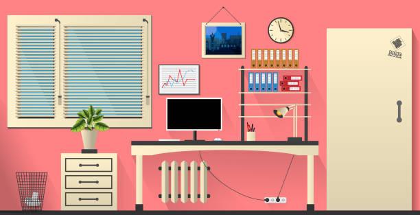flat vector interior office room in pink and ivory style. vector illustration - stiftehalter stock-grafiken, -clipart, -cartoons und -symbole