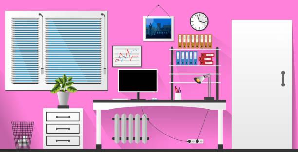 flat vector interior office room in pink and white style. vector illustration - stiftehalter stock-grafiken, -clipart, -cartoons und -symbole