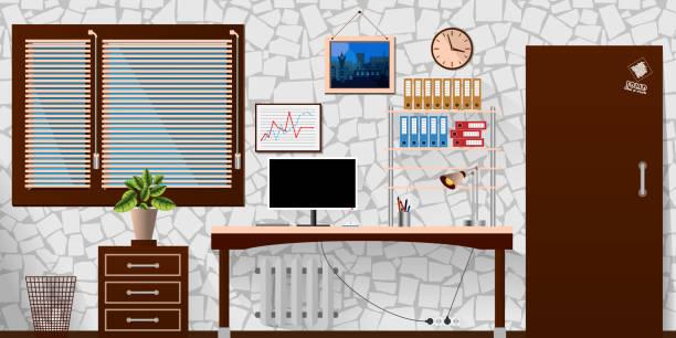 flat vector interior office room in white wooden style. vector illustration - stiftehalter stock-grafiken, -clipart, -cartoons und -symbole