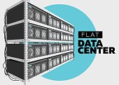 Flat Vector Isolated Illustration of Data Center in Perspective. Grey Computer Rack.