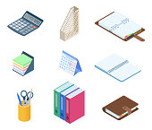 Flat vector isometric illustration of office desktop workplace stationery set.