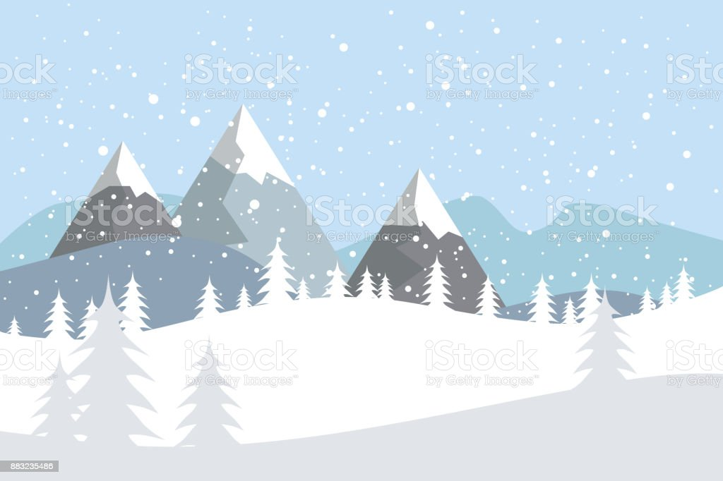 Flat vector landscape with silhouettes of trees, hills and mountains with falling snow. vector art illustration