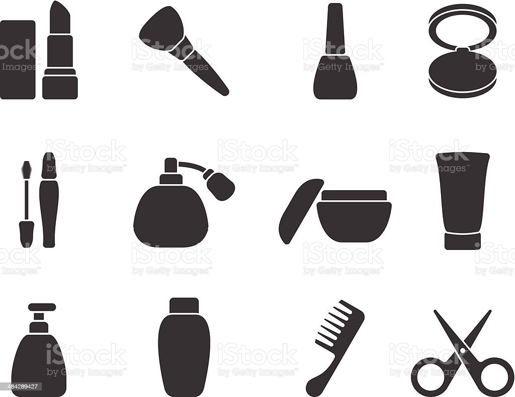 Flat vector make-up & hair accessory icons vector art illustration