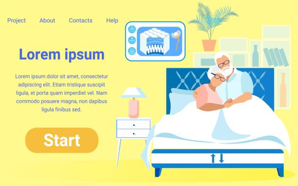 flat vector mattress store starting page template - old man pajamas stock illustrations, clip art, cartoons, & icons