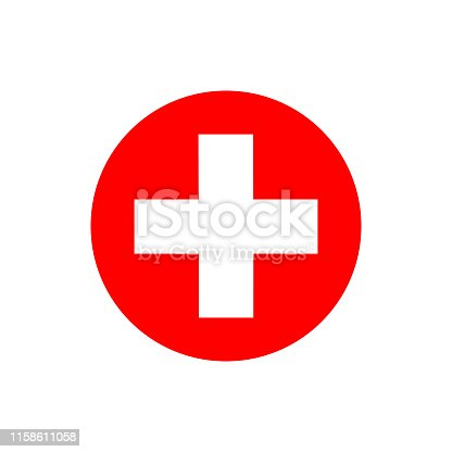 Flat minimal medical cross icon. Simple vector medical cross icon. Isolated medical cross icon for various projects.