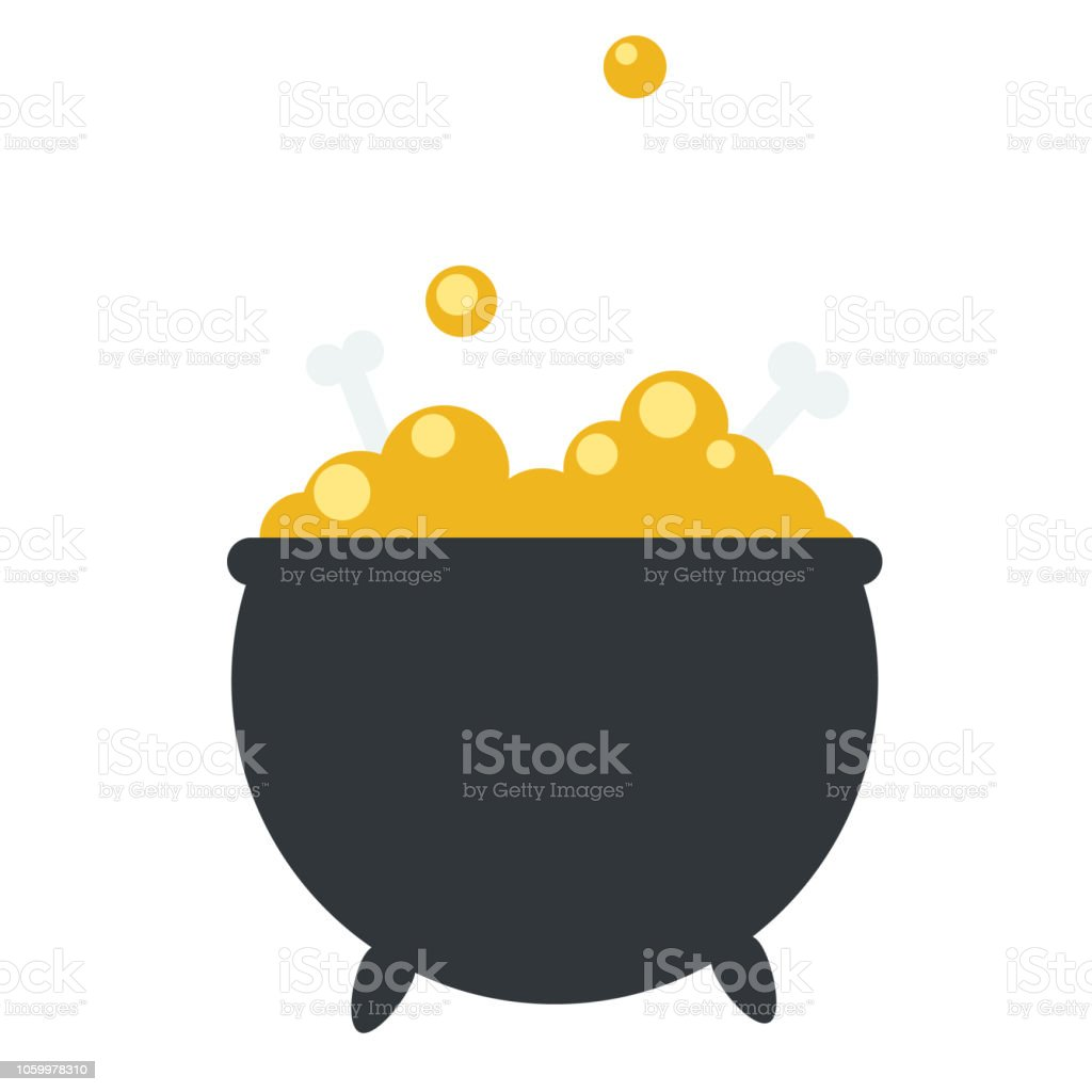 Flat vector of a boiler of a witch making a yellow pill with bones. royalty