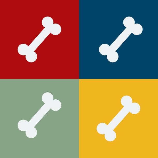 ilustraciones, imágenes clip art, dibujos animados e iconos de stock de plano vectorial de cuatro huesos en cuatro cuadrados de color diferente. - animales de granja