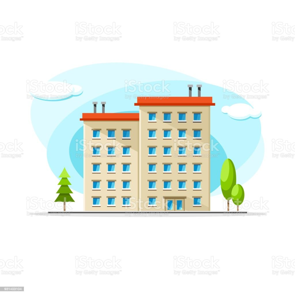 Flat Vector Old Type Of Building Colorful Illustration City House Apartment Residential Object