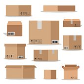 Flat vector packaging carton boxes set.