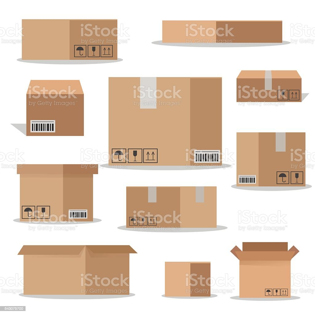 Flat vector packaging carton boxes set. vector art illustration