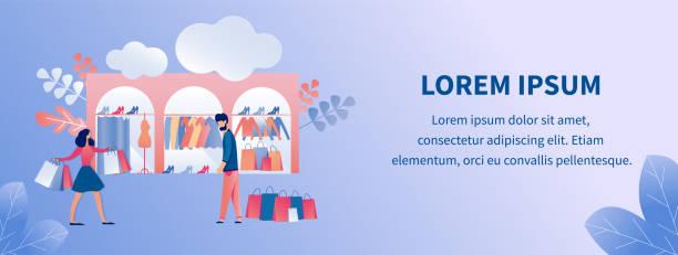 illustrations, cliparts, dessins animés et icônes de flat vector page design template pour clothes store - vitrine magasin