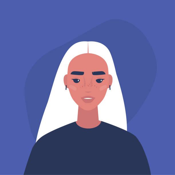 illustrations, cliparts, dessins animés et icônes de verticale plate de vecteur d'un jeune caractère féminin millénaire - femme tache de rousseur